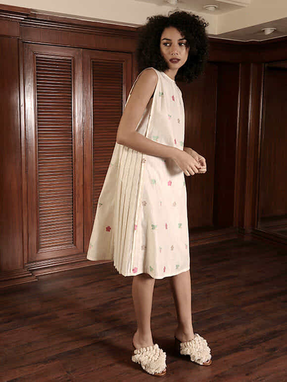 Ivory Embroidered Chanderi Dress