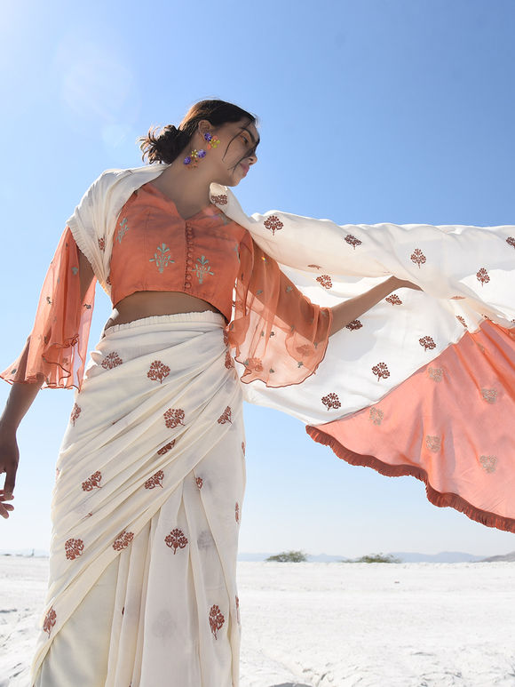 Off White Embroidered Muslin Saree with Rust Blouse - Set of 2