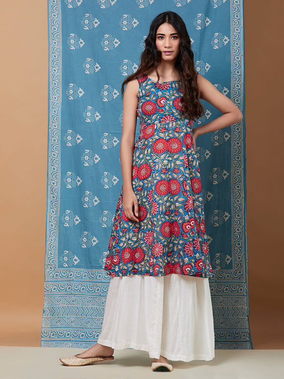 Blue Red Hand Block Printed Cotton Kurta with White Palazzo and Scarf - Set of 3
