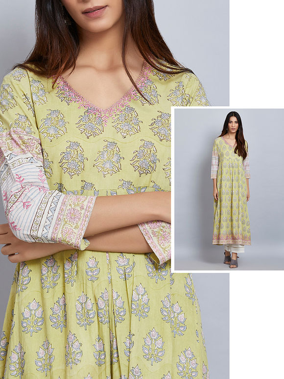 Lime Green Printed Cotton Embroidered Kurta