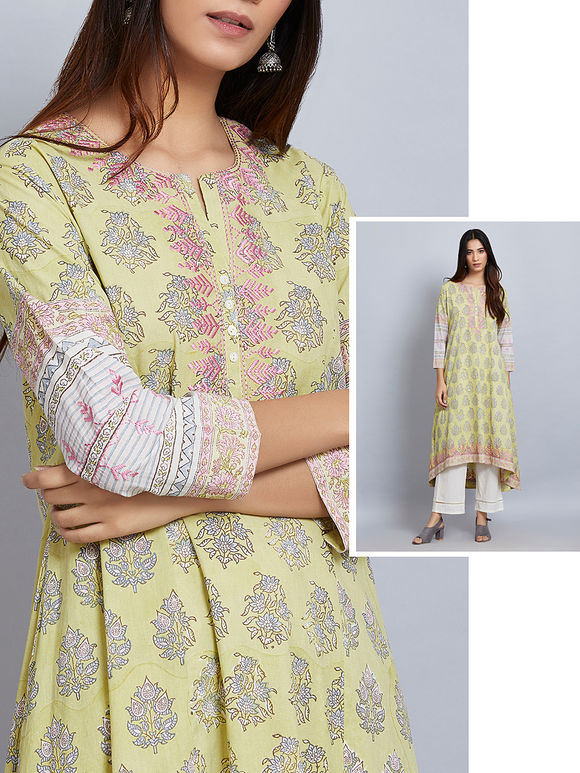 Lime Green Printed Cotton Embroidered High-Low Kurta