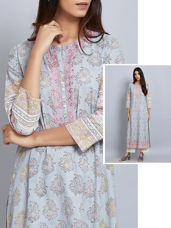 Powder Blue Printed Cotton Embroidered Kurta
