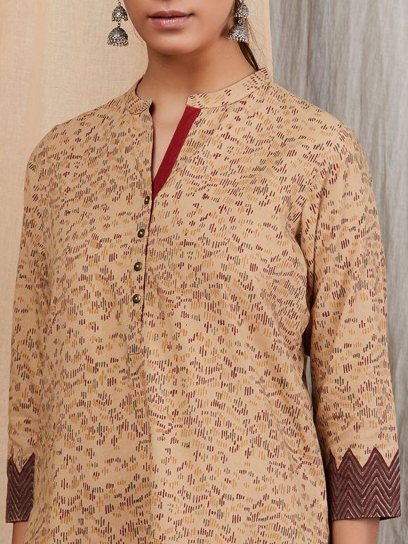 Beige Hand Block Printed Cotton Kurta