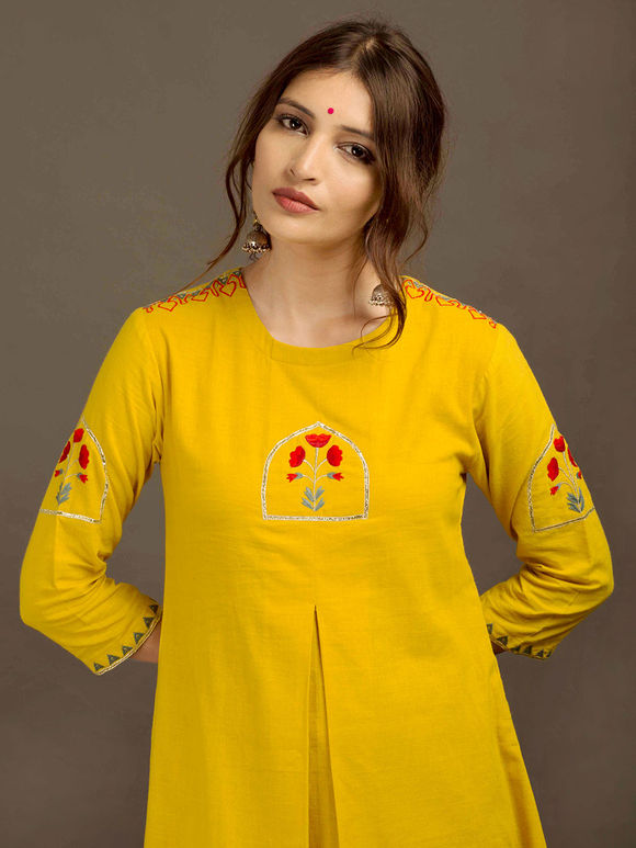 Yellow Khadi Embroidered Kurta