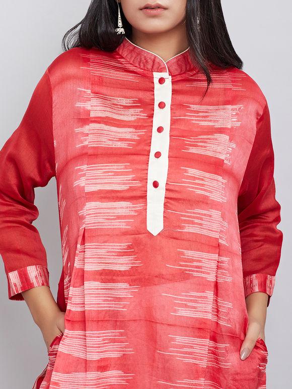Red Shibori Chanderi Kurta