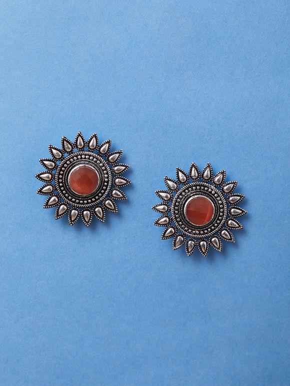 Silver Toned Orange Brass Surya Earrings