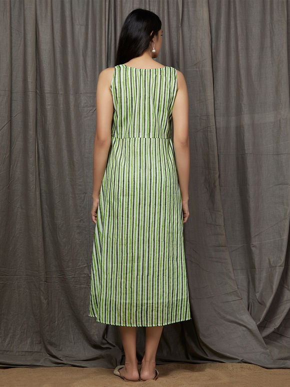 Green White Hand Block Printed Cotton Dress