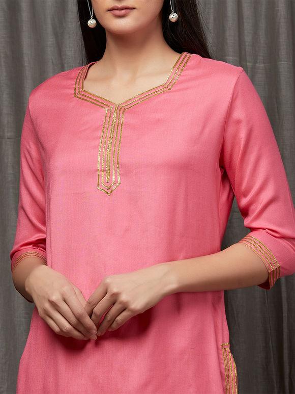 Pink Gota Embrioidred Rayon Kurta