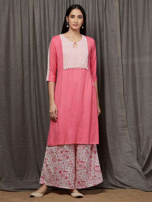 Pink White Rayon Kurta with Hand Block Printed Cotton Palazzo and Dupatta- Set of 3