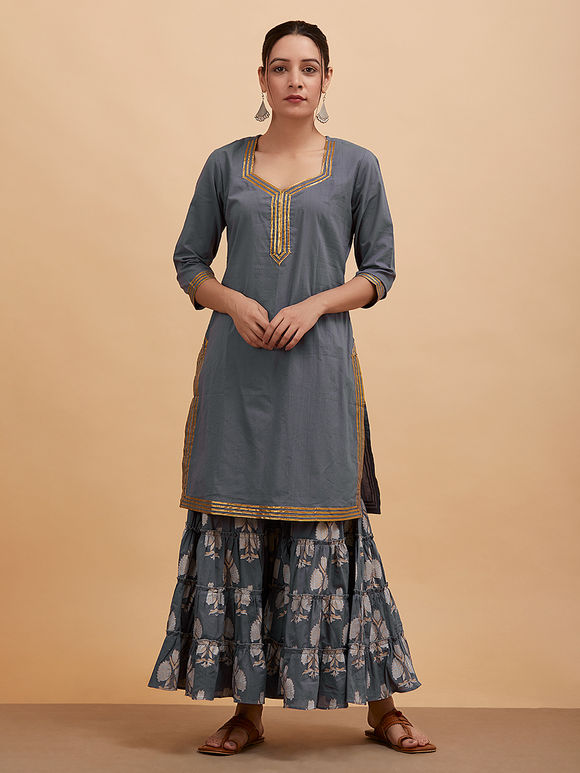 Grey Gota Cotton Kurta with Printed Sharara and Dupatta- Set of 3
