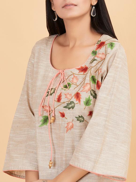Beige Embroidered Khadi Cotton Kurta
