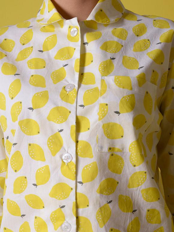 White Yellow Lemon Printed Cotton Night Suit - Set of 2