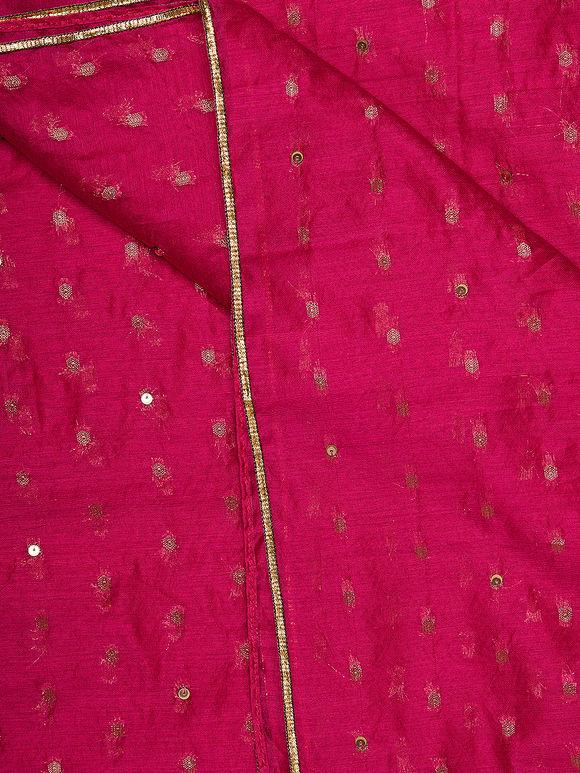 Magenta Hand Embroidered Brocade Silk Dupatta