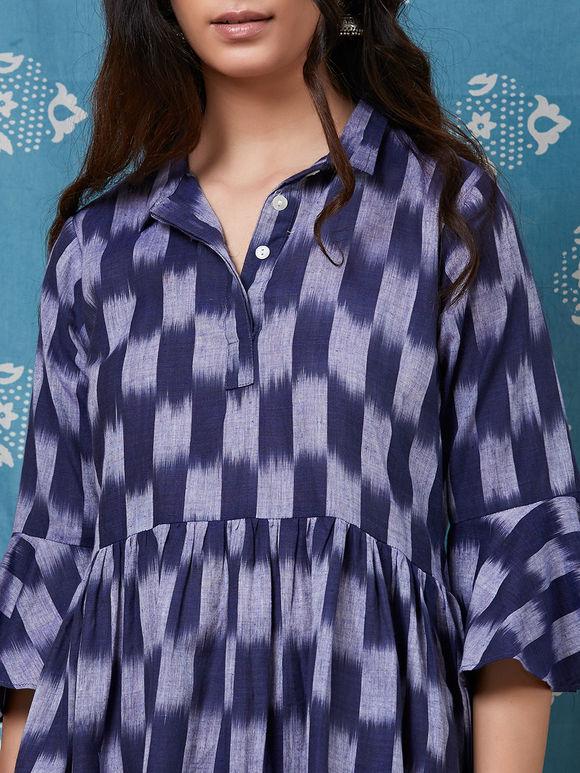 Navy Blue Cotton Ikat Dress