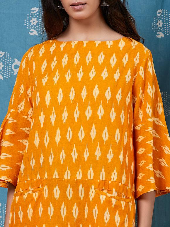 Mustard Yellow Cotton Ikat Dress