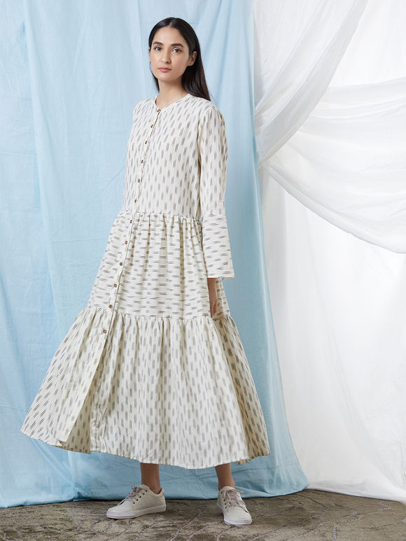 Off White Cotton Ikat Dress