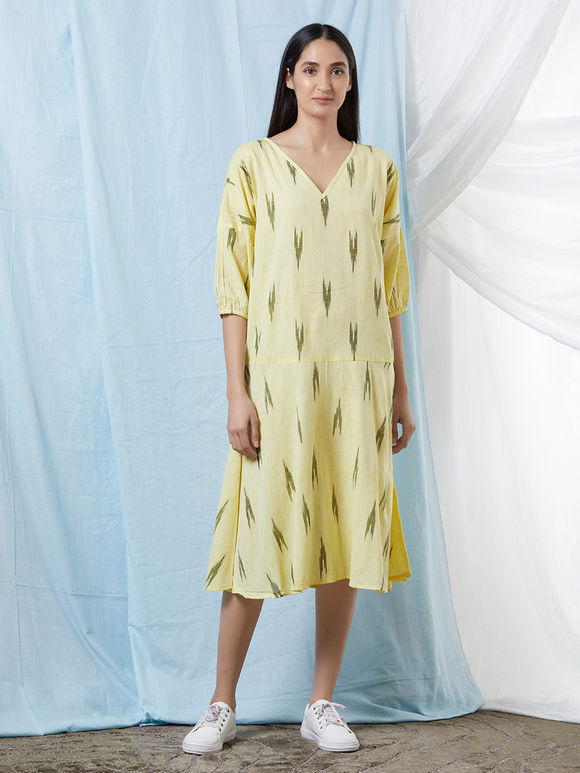 Lemon Yellow Cotton Ikat Dress