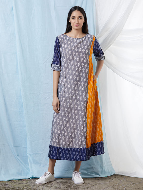 Grey Blue Chanderi Cotton Ikat Dress