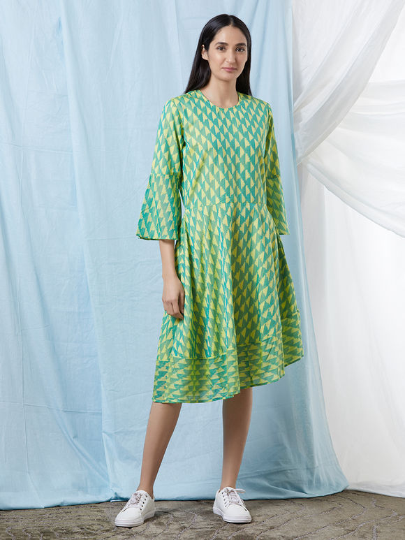 Lime Green Chanderi Cotton Ikat Flared Dress