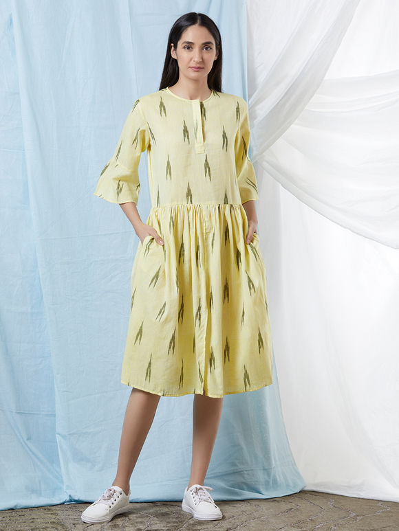 Lemon Yellow Cotton Ikat Gathered Dress