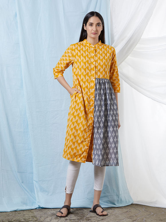 Mustard Yellow Grey Chanderi Cotton Ikat Kurta