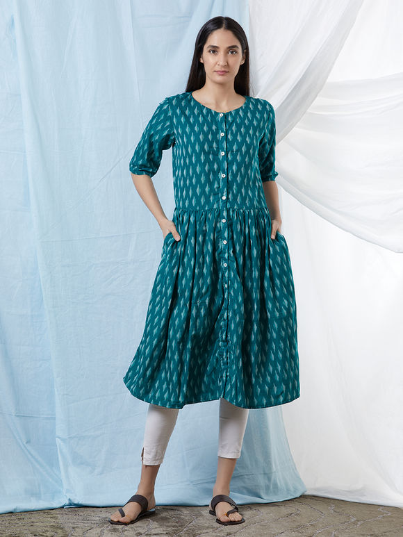 Green Chanderi Cotton Ikat Kurta