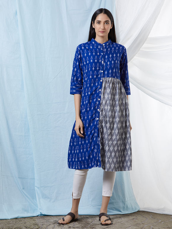 Blue Grey Cotton Ikat Gathered Kurta