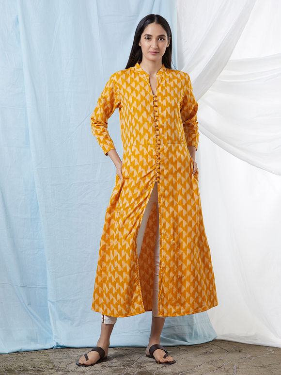 Mustard Yellow Chanderi Cotton Ikat Kurta
