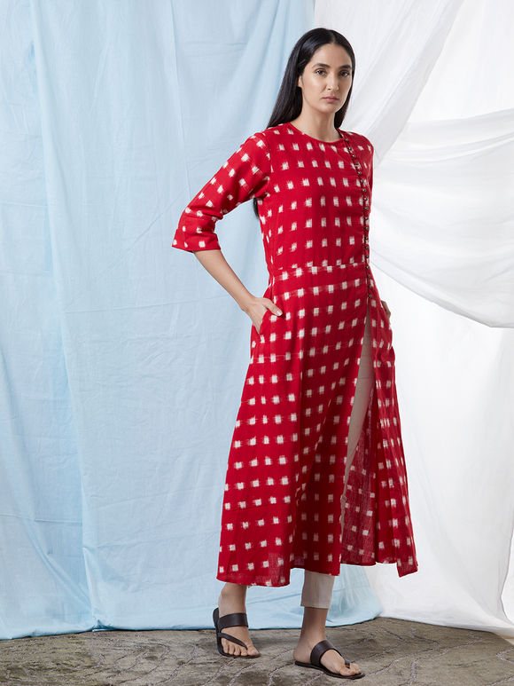 Red Cotton Ikat Kurta