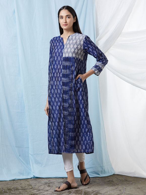 Blue Grey Chanderi Cotton Ikat Kurta