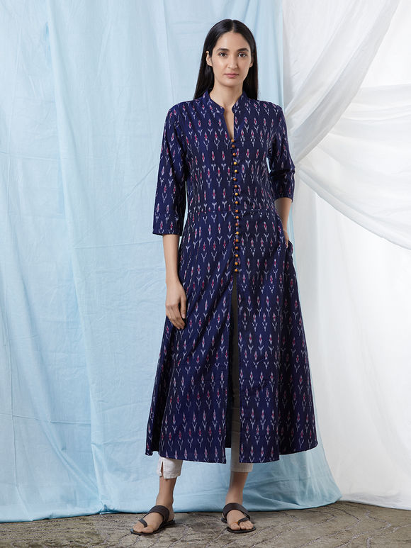 Navy Blue Chanderi Cotton Ikat Kurta