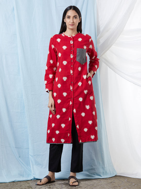 Red Ikat Cotton Kurta