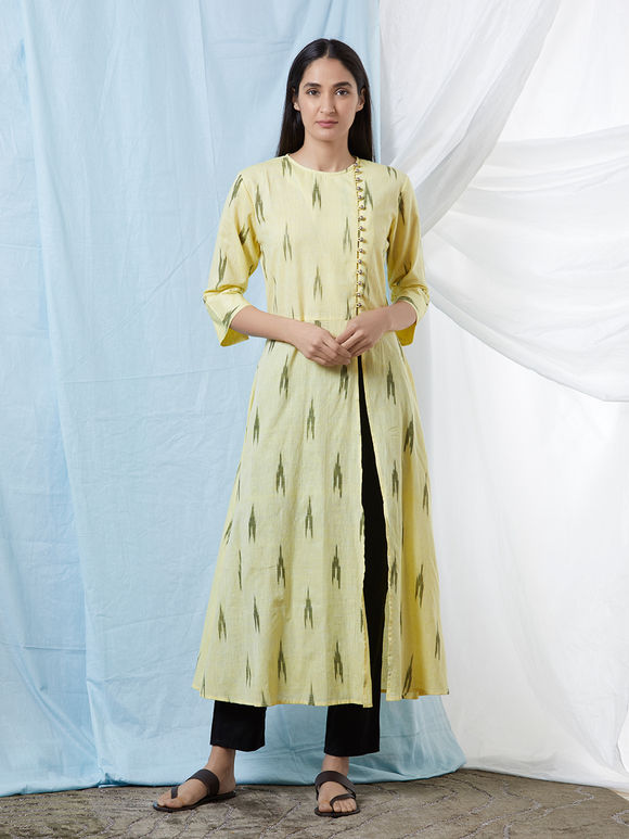 Lemon Yellow Cotton Ikat Kurta