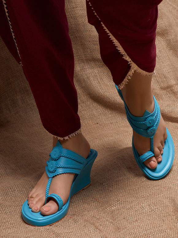 Aqua Blue Handcrafted Leather Wedges