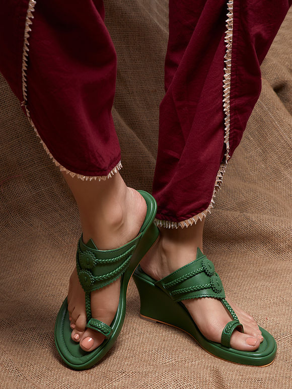 Green Handcrafted Leather Wedges