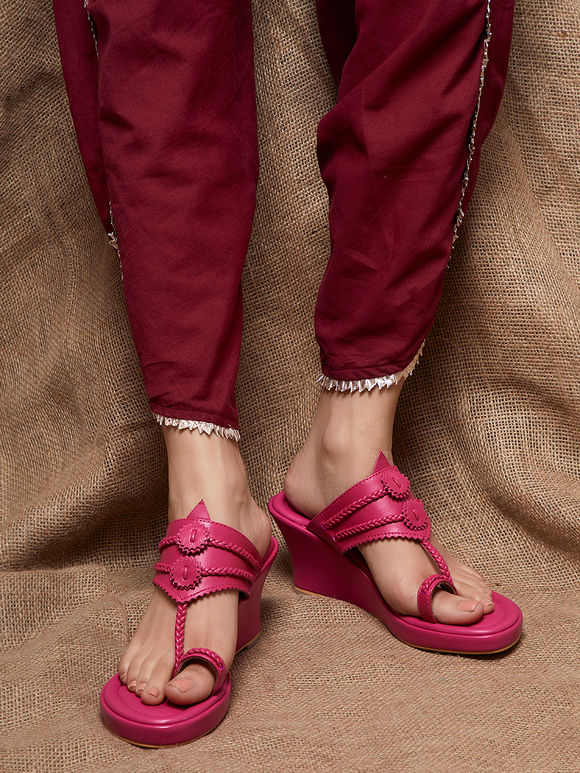 Magenta Handcrafted Leather Wedges
