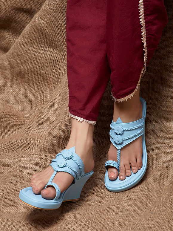 Sky Blue Handcrafted Leather Wedges