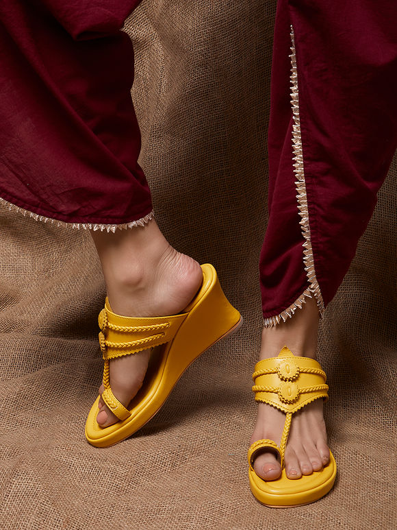 Yellow Handcrafted Leather Wedges
