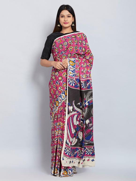 Pink Blue Kalamkari Printed Silk Saree