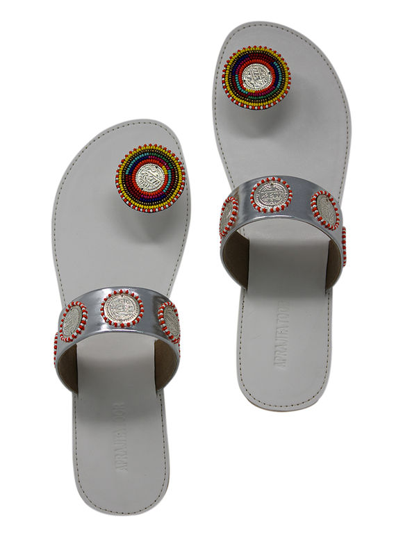 White Red Tribal Handcrafted Leatherette Flats
