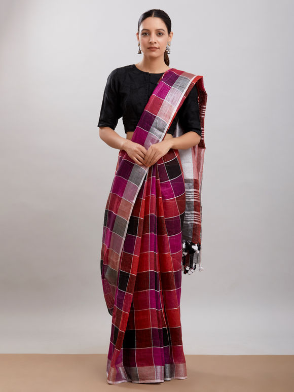 Maroon Pink Checkered Linen Saree