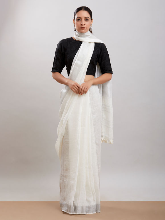 White Zari Linen Saree