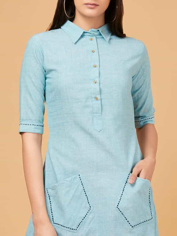 Powder Blue Cotton Linen High Low Dress