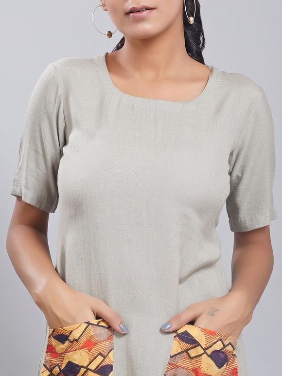 Grey Cotton Linen Dress