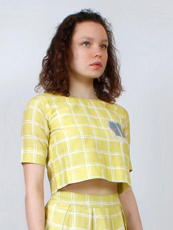 Yellow White Checkered Cotton Silk Crop Top
