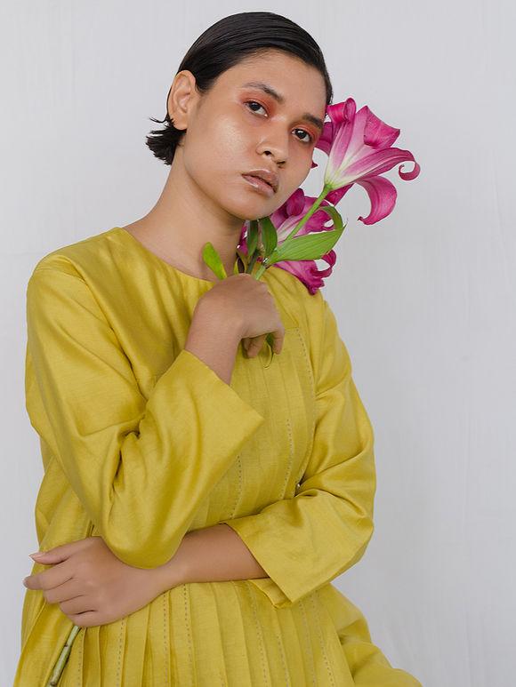 Yellow Chanderi Pleated Kurta