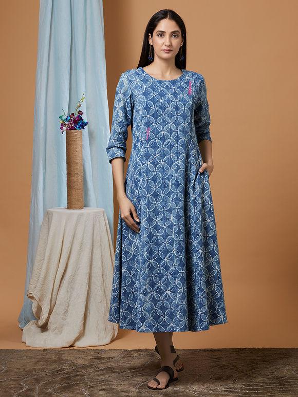 Indigo Dabu Printed Cotton Denim Anarkali Dress