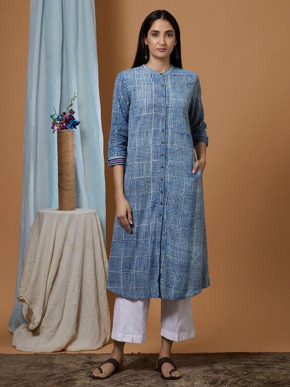 Indigo Dabu Printed Cotton Denim Shirt Kurta