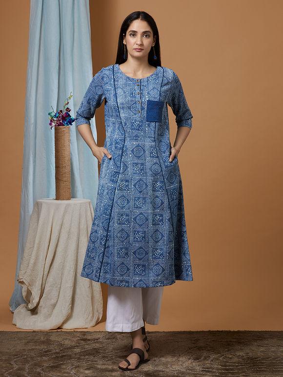 Indigo Dabu Printed Cotton Denim Kurta
