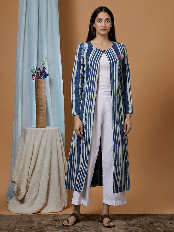 Indigo Dabu Printed Cotton Denim Stiped Jacket